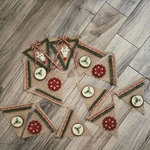 Hand crafted Christmas burlap banner